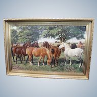 Carl Hertz  19/20 Century Original Large Oil Painting of Horses  signed C. Hertz