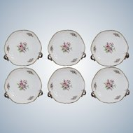 Rosenthal Sanssousi Six Plates With Rose Painting and the Golden Edge Made in 1935-1956 Diameter 21cm