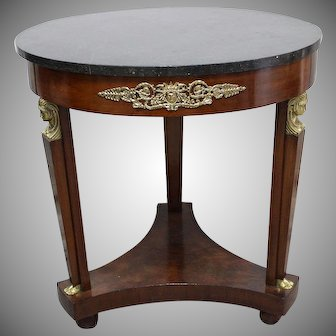 French Empire Style Mahogany And Gilt Round 3 Legged Center Table On Platform Base 19 th Century Height 74cm