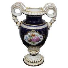 Meissen Cobalt Large Snake Handled Vase 1920 -1923.