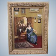 Adolf Reich Austria 1887 - 1963 Lady In Salon Painting On Mahogany Board Signed and Datet 1919