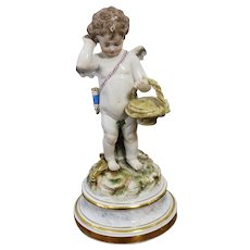Antique Meissen Figurine  Angel Cherub Cupid  With A  Basket L-Series L118 Mint