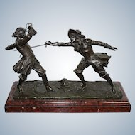 Edouart Drouot 1859 - 1945 French  Bronze Statue Depicting Two  Fencing Musketeers On Marble Base Late of 19 Th Century