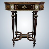 Dressing Inlay Table of Napoleon III with a Foldable Mirror   and Mounted Sevres Style Porcelain 19Th Century