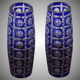 A Pair Vases of  Bohemian Cased Cobalt Blue Cut to Clear Bohemian Crystal Art Glass   From Novy Bor 1930