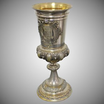 Antique Punch Silver Goblet  19th Century Decorated By The Coat of Arms Of The Eminent Czech Noble Family Of Czernin