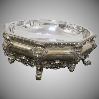 Large Silver Jardiniere With Cut Crystal Glass. 916 Silver Diameter 33Cm
