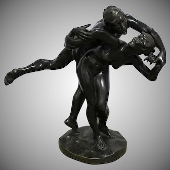 "Joseph (Jef) Lambeaux, 1852-1908 Belgium, ""The Kiss""  Impressive Large Dark Patinated Bronze Sculpture Of   Naked Couple  Men And Women, Signed Joseph (Jef) Lambeaux,"