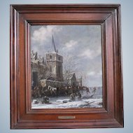THOMAS HEEREMANS DUTCH, 1640/41-1694/97. Oil painting Of Frozen Winter Landscape With Skaters Signed and Dated 1673