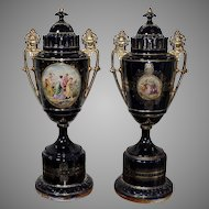 Royal Vienna Style A Pair Of  Large Hand-Painted Porcelain Urns End of the 19th Century Height 75cm