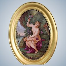 A French Sevres Style Porcelainl Hand-Painted Porcelan Plaque Of  19 Th Century Signed Desprats