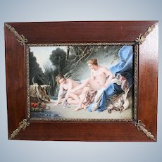 KPM  Berlin Porcelain Plaque Hand Painted Diana Resting After The Hunt Signed Alfred Brädel  19th Century