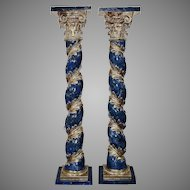 18 Th Century A Pair Of   Wooden Pedestals Of  Lombardy