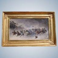 Stanisław Pomian Wolski 1859-1894 Polish Oil Painting Of Cossack Ride On Mahogany Board Signed