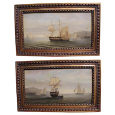 Ferdinand BONHEUR 1817-1887 France A Pair Oil Paintings Of Sailing Ship