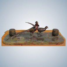 A Large Vienna Bronze Cold Painted Inkwell  with Two Figures Of Pheasants Mounted On A Marble Base With A Red Annealing 1900 Lenght: 54,5cm