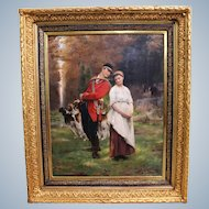 SCHNEIDER Louis Amable, 1824-1884 French Signed Oil Painting Of Hunter With Girl And Dogs