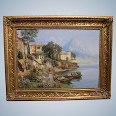 Alois Arnegger Austrian, 1879–1967 Large Oil Painting View Of The Countryside Of Lake Como In Northern Italy Signed