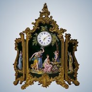 Viennese Miniature Hand Painted  Enamel Three Panel Screen With Clock Of 19 Th Century