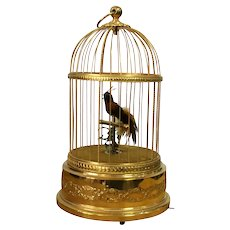 Vintage French Bontems  Singing Birds Automaton Bird Cage Music Box 1920 Height 28Cm.