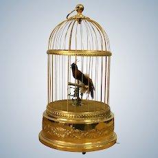 Vintage French Bontems  Singing Birds Automaton Bird Cage Music Box 1920 Height 28Cm.