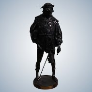 "Picault  Emile Louis  1833 - 1915 French Large Brown Patined Bronze Sculpture ""The Escholier "" Signed Height 60 Cm"