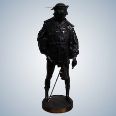 """Picault  Emile Louis  1833 - 1915 French Large Brown Patined Bronze Sculpture """"The Escholier """" Signed Height 60 Cm"""