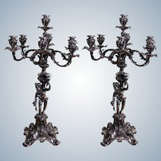 Pair Of Antique Monumental French Silver Seven Light Candlelabras With a Bacchus Height 83cm Total Weight 20 Kg