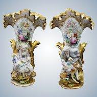 Jacob Petit A Pair Old Paris Porcelain Vases  22 53/64 Inches