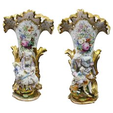 Jacob Petit A Pair Old Paris Porcelain Vases  22 53/64 Inches