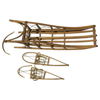 Alaskan Sled and Snowshoes 1939 Signed Replica of Traditional Dog Sled Used in Alaska