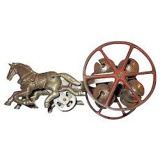 Horses pulling Bells Antique Child's Toy