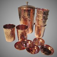 Copper Set Pitcher Six Cups with Lids