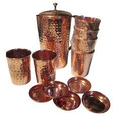 Copper Set Pitcher Six Cups with Lids