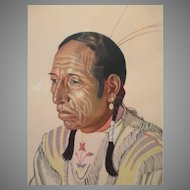 1940s Print Kainai Chief Of The Blood Tribe Shot on Both Sides, Alberta, Canada
