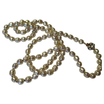 """Miriam Haskell 36"""" White Baroque Single Strand Pearl Necklace"""