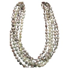 "Pearls Cultured Coin Five Strand 18"" Necklace"
