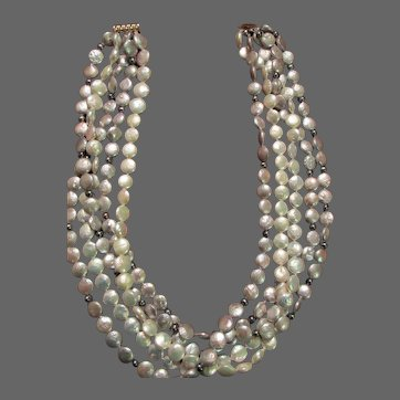 """Pearls Cultured Coin Five Strand 18"""" Necklace"""