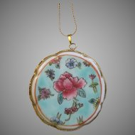 """China Remnant Porcelain Rose Pendant Gold Vermeil 24"""" """"S"""" Chain GF"""