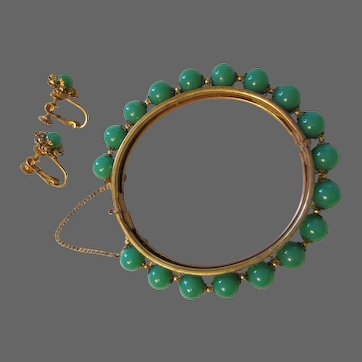 Vintage Miriam Haskell Green Glass Earrings and Bangle Bracelet Set