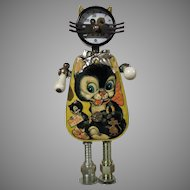Cat FOBOT 11 27 Assembled Vintage Found Objects by Amy Flynn