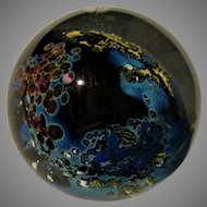 "3"" Paperweight Blues and Gold Signed Simpson Vintage 1980's"