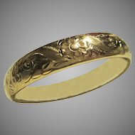 Rolled Gold Etched Floral Hollow Clamshell Clasp Bracelet