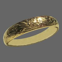 Rolled Gold Victorian Etched Floral Hollow Clamshell Clasp Bracelet