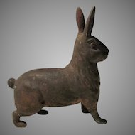 Antique Standing Rabbit Cast Iron Bank