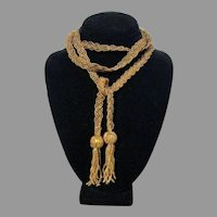 Lariat Flapper Necklace Braided Yellow-Gold Glass Beads 56 Inch