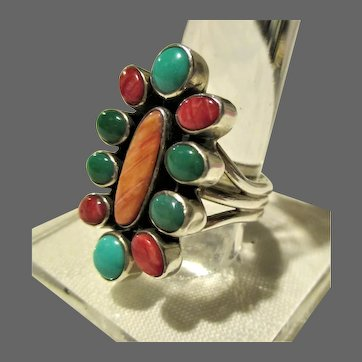 """Multi-Stone Sterling Cluster Ring Size 7.5 Signed """"W"""""""