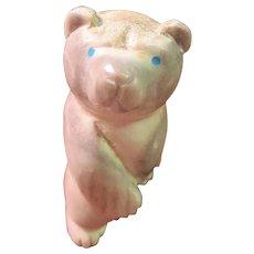 Carved Bone Bear Turquoise Eyes Signed