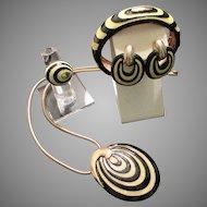 Eisenberg Enamel Set Striking Contrast Mid Century Boho Design