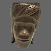 Hawaiian Face Cup Hand Carved Mid Century
